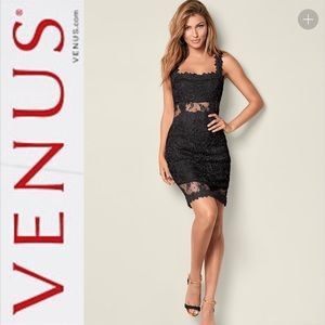 Venus Black Lace Bodycon Dress Size 6
